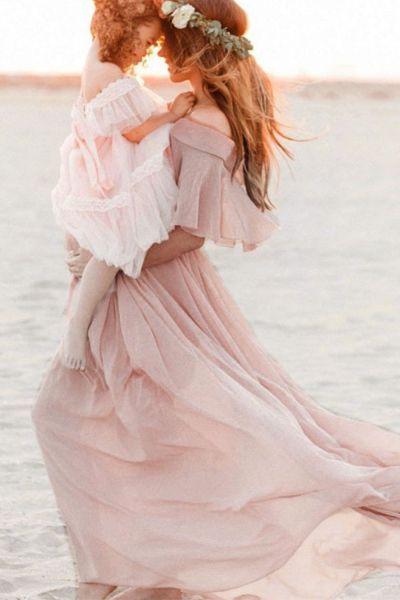 Maternity Photography Props Women Pregnancy Long Dress Beach Solid Short Sleeve Dresses Pregnant Lace Maxi Gown