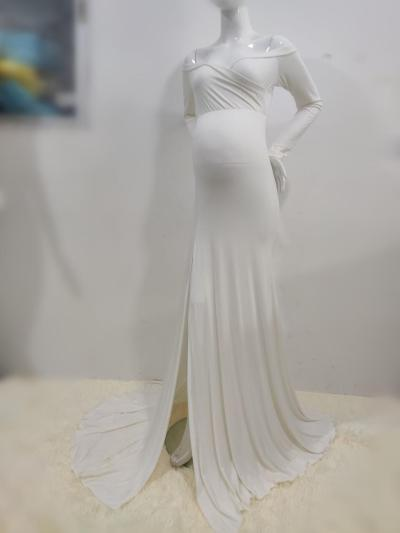 Sexy Shoulderless Maternity Dresses For Photo Shoot Maxi Gown Split Side Women Pregnant Photography Props Long Pregnancy Dress