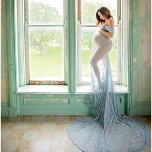 Womens Maternity Dresses Pregnants Sexy Photography Props Off Shoulders Sleeveless Lace Nursing Long Solid Dress Clothing