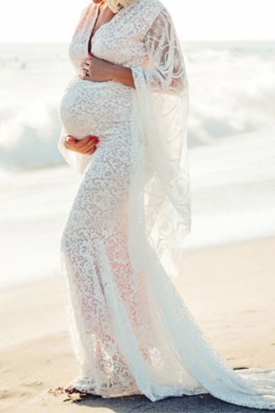 Women Ruffles Long Sleeve Prom Gown Dress Maternity Pregnants Photography Props  Flying Dress For Photo Shoot