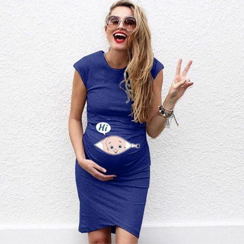 Cartoon Print Breastfeeding Dresses Summer Women Letter Sleeveless Pregnancy Maternity Dress Nusring Clothes For Mother