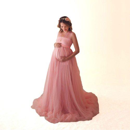 Women Pregnant Dress Light Yarn Summer Dress Vestido Maternity Photography Props Clothes Pregnancy Robe Shooting