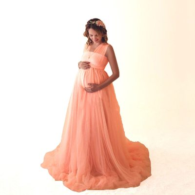 Women Pregnant Dress Light Yarn Summer Dress Vestido Maternity Photography Props Clothes Pregnancy Robe Shooting