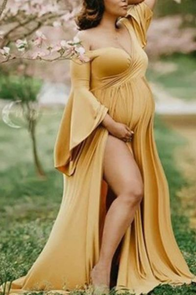 Shoulderless Maternity Dresses Gown For Photo Shoot Sexy Ruffle Pregnant Maxi Dresses For Women Long Pregnancy Dress
