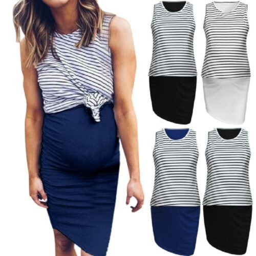 Pregnant Maternity Nursing Breastfeeding Women Summer Dress Stripe Sleeveless Dress Fake Two Piece Dress with Front Pleat