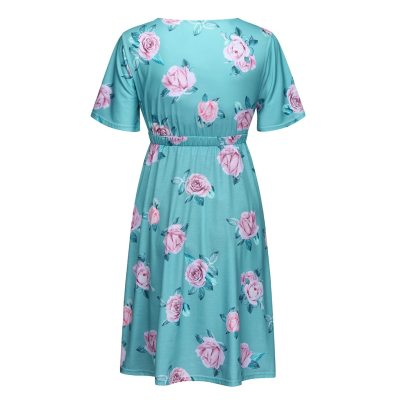 New Summer Fashion Casual Women Short sleeve Pregnant Maternity Dress Flower Maternity Clothes Pregnancy Dress