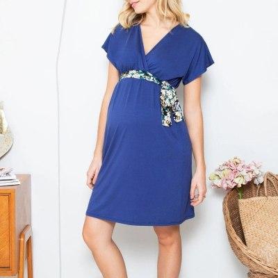Women Pregnant Nusring Maternity Short Sleeve Solid V-Neck Dress