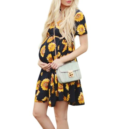 Women Sleeveless Pregnant Maternity Dress Flower Nursing Pregnancy Casual Mother Nursing Dress Top Breastfeeding Dress