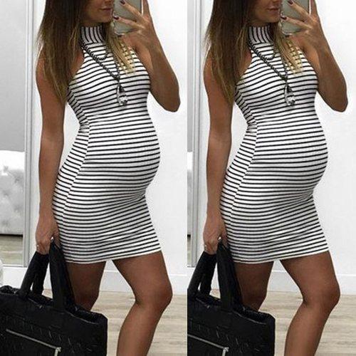 Stripe Pregnancy Dress Womens Summer Pregnants Nursing Baby For Maternity Stripe Sexy Mini Dress Sleeveless Pregnancy Dress