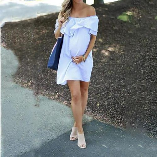 Women Maternity Off Shoulder Pregnancy Solid Sundress Sexy Dress
