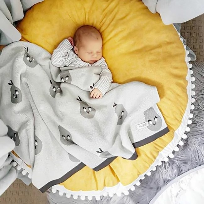 Round Baby Play Mat Soft Cotton Playmat Foldable Game Crawling Mat For Baby Room Decor Home Infant Blanket Pad Crawling Rugs