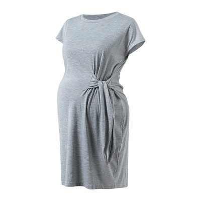 Loose Tie-in Pregnant Women Maternity Dress 2021 Summer Popular Pure Color Soft Cotton Vestidos Gestante Pregnancy Causal Dress