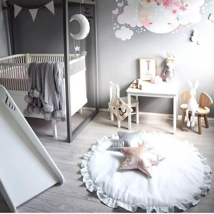 Nordic Newborn Baby Padded Play Mats Soft Cotton Crawling Mat Girls Game Rugs Round Floor Carpet For Kids Interior Room Decor