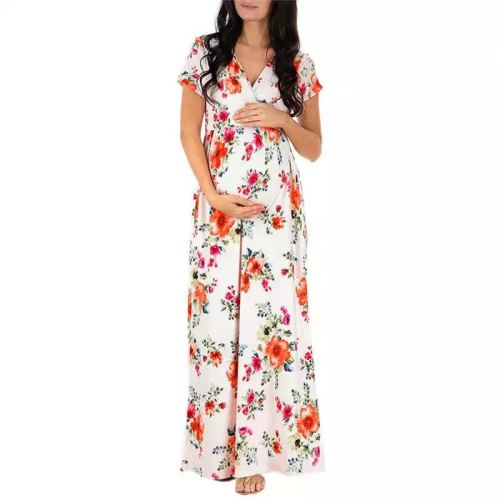 Pregnant Women Clothing Maternity Dresses New V Neck Short Sleeve Print Long Pregnancy Dress Fashion Plus Size Beach Dress