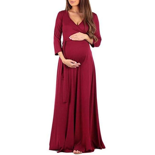 Women Pregnant Maternity Nursing Floral Breastfeeding Summer Long Dress V-neck Beach Clothes for Pregnant Women