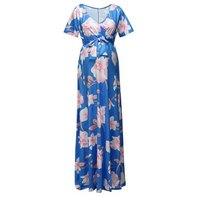 Pregnant Women Solid Dress Maternity Short Sleeve V-necks Casual Dresses For Pregnancy Irregular Party Dress