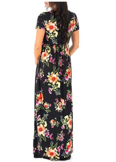 Pregnant Women Clothing Maternity Dresses New V Neck Short Sleeve Print Long Pregnancy Dress Fashion Plus Size Beach Dress