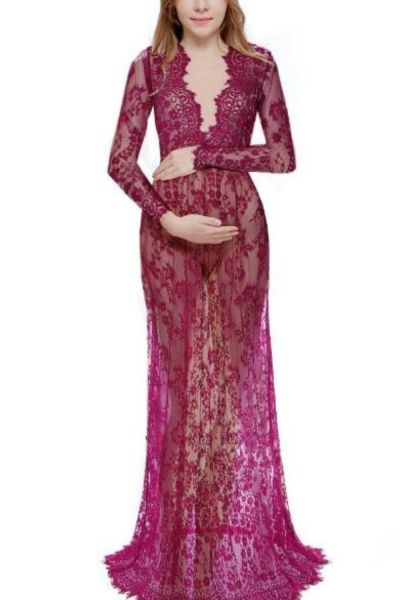 Fashion Maternity Photography Props Maxi Maternity Gown Lace Maternity Dress Fancy Shooting Photo Summer Pregnant Dress