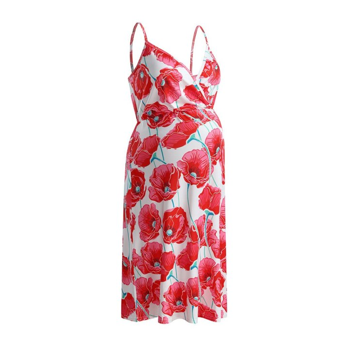 Dresses Pregnancy Dress Maternity Photography Props Pregnant Women'S Clothing Summer Suspender Floral Sexy Vest