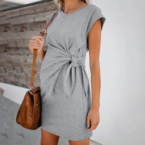 Women Maternity Dresses Loose Nursing Wrap High Waist Dress Short Sleeve Double Layer Comfortable Solid Pregnant Dresses