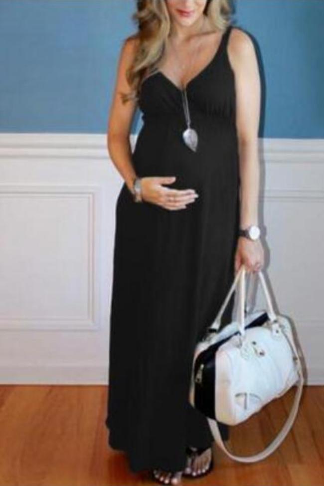 Women Maternity Dress Sleeveless Pregnancy Solid Comfort Summer Casual Ladies Long Dress Photography Props Evening Dress T9#