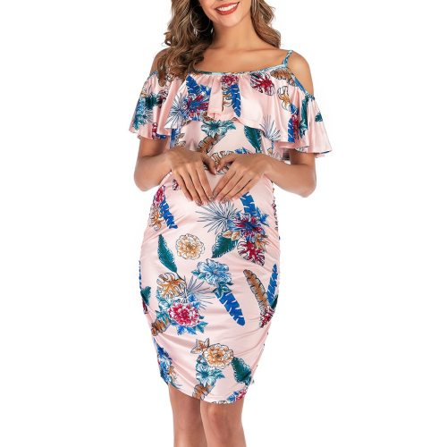 Maternity Dresses Summer Ruffle Floral Dress Off Shoulder Pregnancy Dress Bodycon Knee Woman's Gown Elegant Woman's Clothing