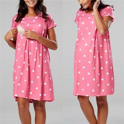 Maternity Pajamas Nightgown Breastfeeding Dress Childbirth Nursing Pajamas Pregnant Women Nightwear For Breastfeeding Sleepwear