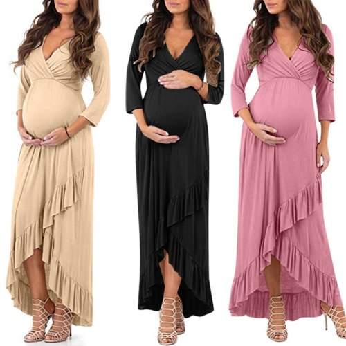 New Women Pregnant Dress Nusring Maternity Long Sleeve Ruffles Solid Irregularity Lace Dresses Woman Party Dress Casual Clothes