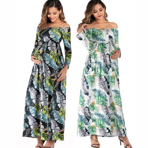 Women'S Dress Word Shoulder Mopping Maternity Dress Long Sleeve Pregnant Dress Pregnancy Clothes Spring Dress