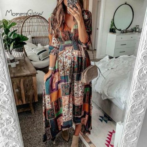 2021 New Maternity Long Dress Maternity Printing Folding Elegant Maternity Long Dress Plus Size