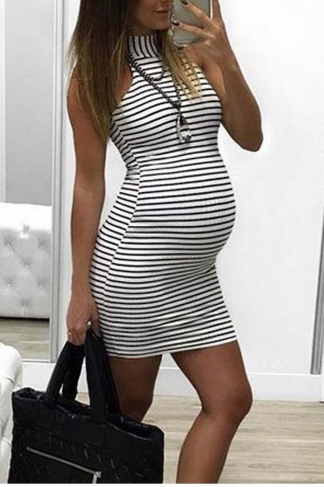 Fashion Womens maternity dressNursing Baby For Maternity Stripe Sexy Dress clothes for pregnant women Dropshipping