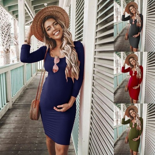 Fall Winter Pregnant Women Solid Maternity Clothes Long Sleeve Pregnancy Dresses Mama Clothing Girls Sexy Gift