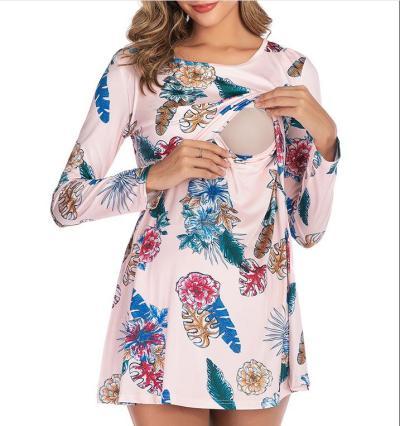 2021 Postpartum Women Autumn Long Sleeve Nursing Shirts Maternity Fashion Breastfeeding Knitted Blouse Plus Size Lactation Dress
