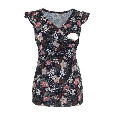 Women Floral Print Maternity Blouses Ruffle Pregnant Nusring V-neck Short Sleeve Printed Stripe Breastfeeding Blouse Tops Summer