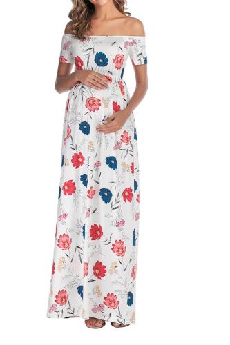 2021 Summer Maternity Dress Short Sleeve Shoulderless Shirts Pregnant Dress High Waist Pregnancy Dress for Pregnant Women