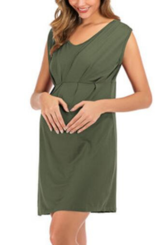 Solid Color Maternity Clothing Cross-border Foreign Trade Knitted Sleeveless Women Loose Casual Dress Polyester