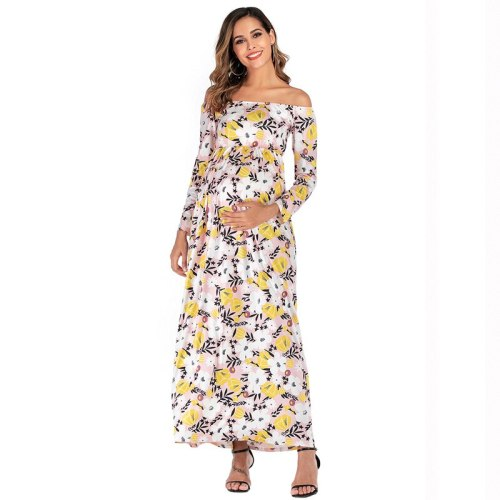 Pregnant Women Dress 2020 New Autumn Maternity Photography Photo Clothing Shoulderless Long Sleeve Flower Print Dresses