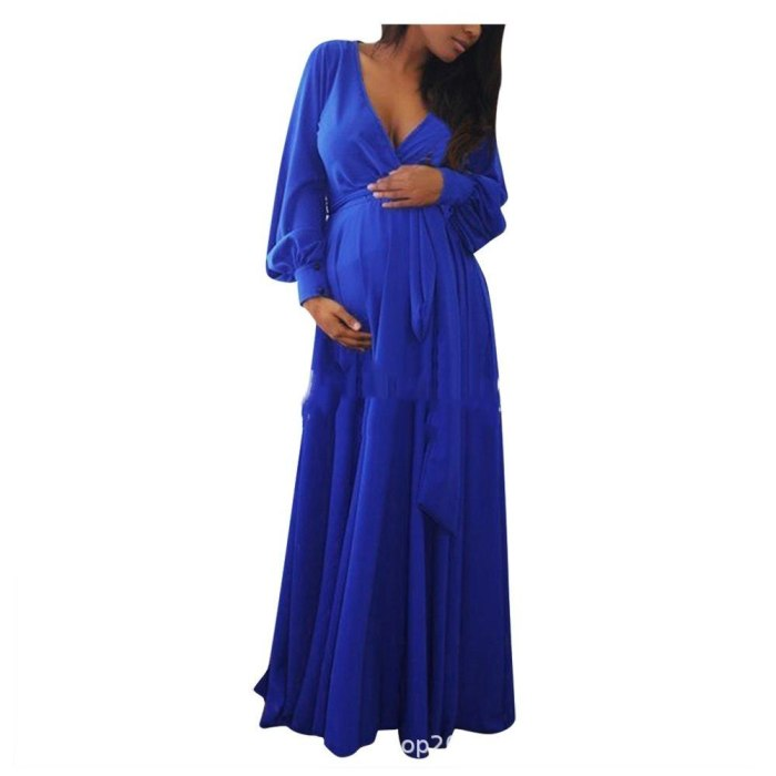 Long Sleeve Maternity Dress V-Neck Pregnancy Gown Pregnancy Gown For Photo Shoot Baby Shower Autumn Gown With Belt Plus Size