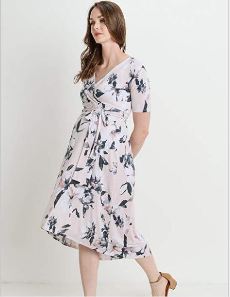 New Maternity Dress Polyester V-neck printed belt Women's Pregnancy Women Photography Props Fancy Popular Long Maternity Dresses