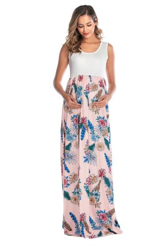 Sleeveless Patchwork Bohemian Dress Maternity Dress Women Dress Mama Clothing Long Skirt Pregnant Casual Flower Clothes