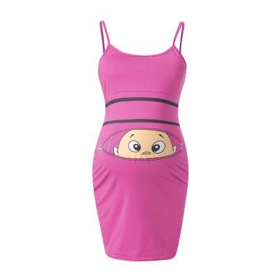 Women's Maternity Dress Women's Fashion Cute Baby Printed Pregnant Summer Sleeveless Maternity Dress #40