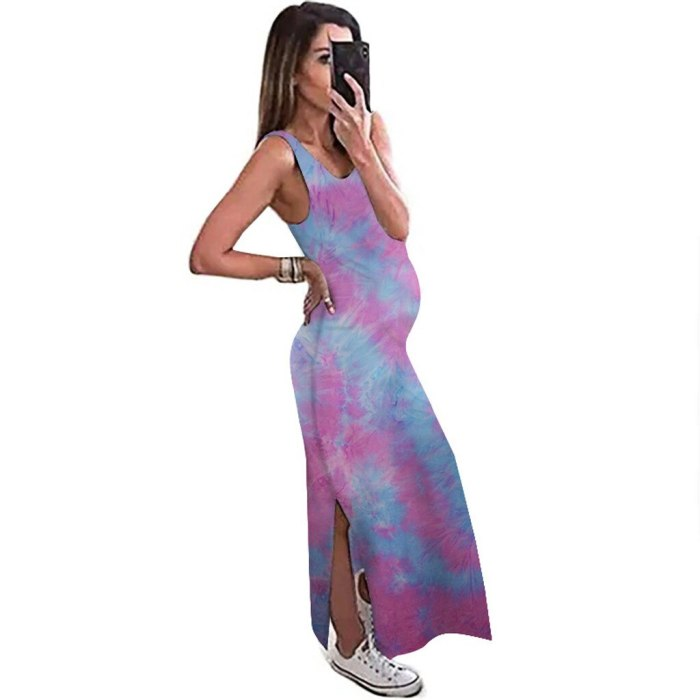 Women Summer Dress Sexy Pregnant Tie-Dye Print Long Sleeveless Loose Dress With Round Neck