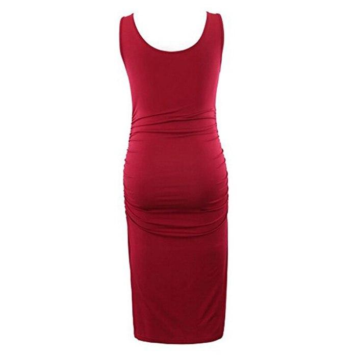 Maternity Sleeveless Pregnancy Dresses Casual Summer Pregnant Mama Midi Dresses Black Wine Navy Dress