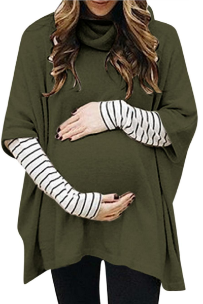 Winter Maternity Hoodie Sweatshirt For Women Pregnant High Collar Long Sleeve Splicing Stripe Tops Pullover Blouse Outwear#g4