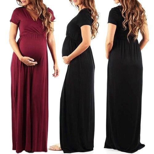 Women's Maternity Dress Pregnant Women Summer Pregnant Womens Nursing Pregnancy Dress Solid Maternity Long Dress#40