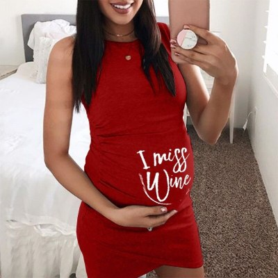 New Summer Stretchy Maternity Clothings Bodycon Pregnant Women Sleeveless Dress Vestidos Maternity Clothes Solid Color Plus Size