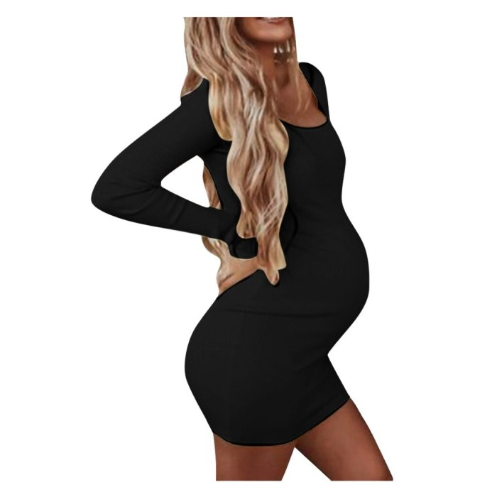 Pregnancy Dress Women Pregnant Maternity O-neck Dresses Long Sleeve Solid High Elastic Soft Dress Pregnancy Clothes