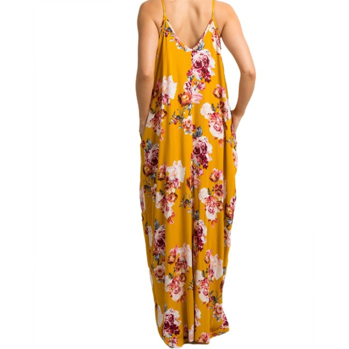 Summer Casual Female Dress Floral Print V-Neck Sleeveless Dress One-Piece for Pregnant Women White Yellow