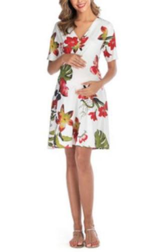 V-Neck Maternity Breastfeeding Dress Maternity Baby Nursing Clothes Pregnant Woman Skirt Beach Clothes Pregnancy Dresses