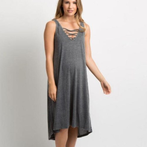 Sexy Neckline strap design Loose Maternity Dresses For Pregnant Clothes Casual Dress Gray Maternity Clothings Pregnant Women